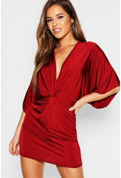 Womens Wine Petite Disco Slinky Twist Front Mini Dress