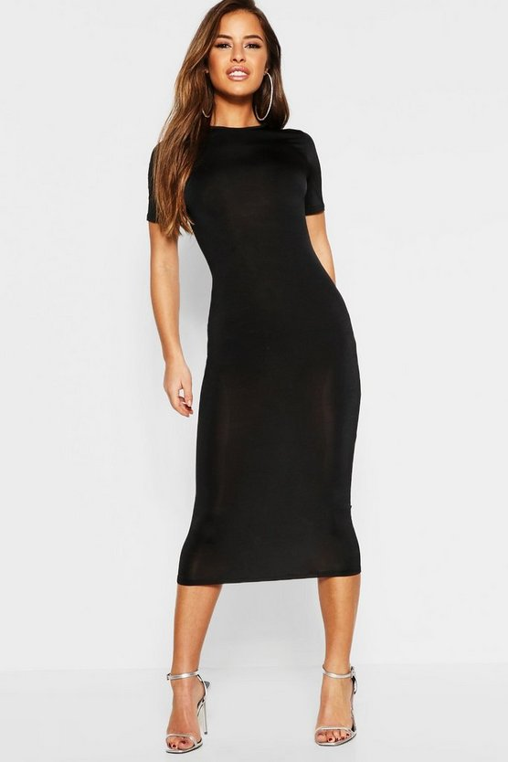 Petite Slinky Disco Cap Sleeve Bodycon Dress