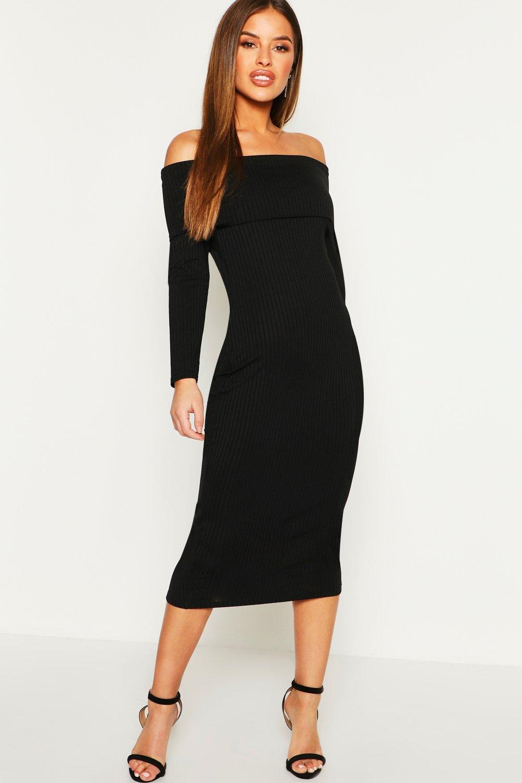 Petite Jumbo Rib Bardot Maxi Dress