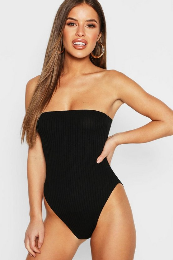Petite Extra breit gerippter Bandeau Body