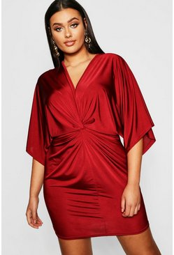 Womens Wine Plus Disco Slinky Twist Front Dress