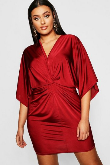 Wine Plus Disco Slinky Twist Front Dress