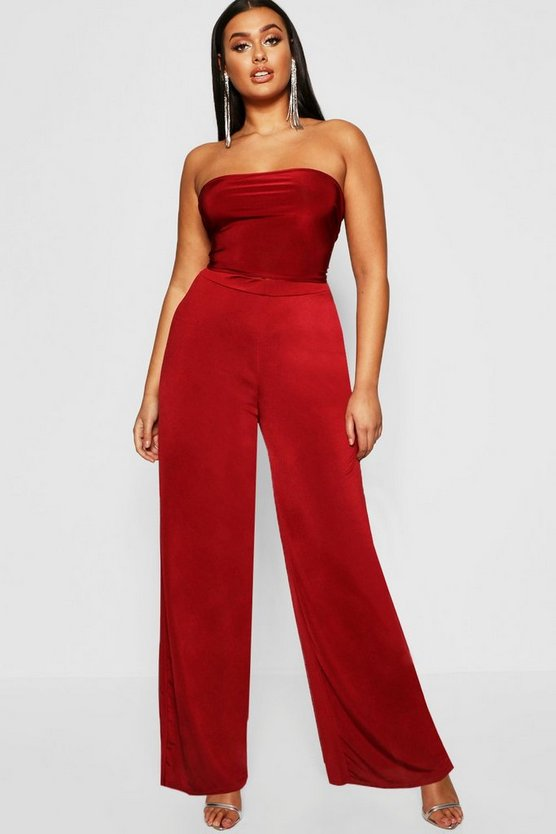 Plus Disco Slinky Wide Leg Trouser, Wine, Donna