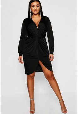 Plus Disco Slinky Twist Front Wrap Dress, Black