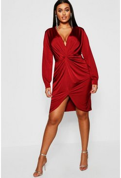 Plus Disco Slinky Twist Front Wrap Dress, Wine