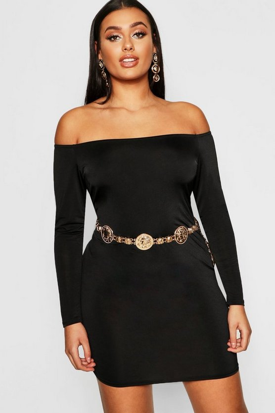 Black Plus Bardot Disco Slinky Bodycon Dress