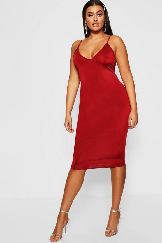 Womens Wine Plus Disco Slinky Plunge Midi Dress