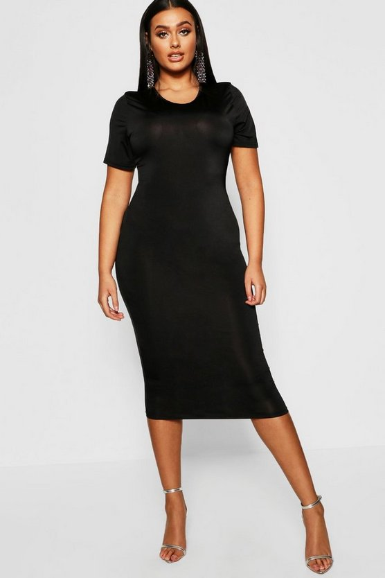 Womens Black Plus Slinky Cap Sleeve Midi Dress