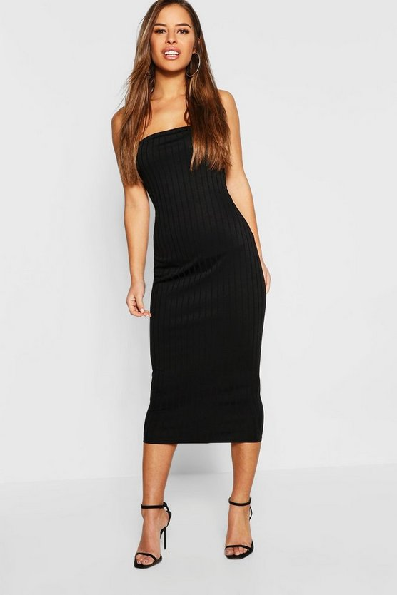 Womens Petite Bandeau Rib Midi Dress