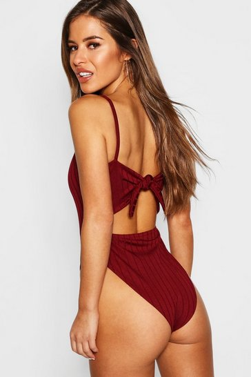 Womens Berry Petite Ribbed Tie Back Bodysuit