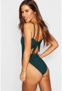 Teal Petite Ribbed Tie Back Bodysuit