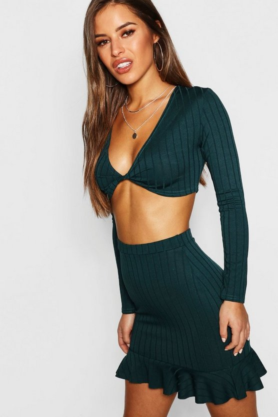 Petite Ribbed Knot Front Crop Top