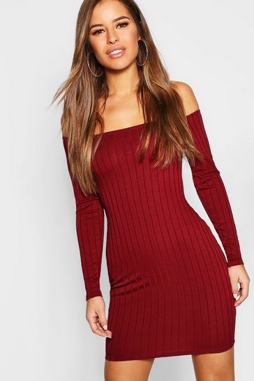 Womens Berry Petite Ribbed Scoop Neckline Bodycon Dress