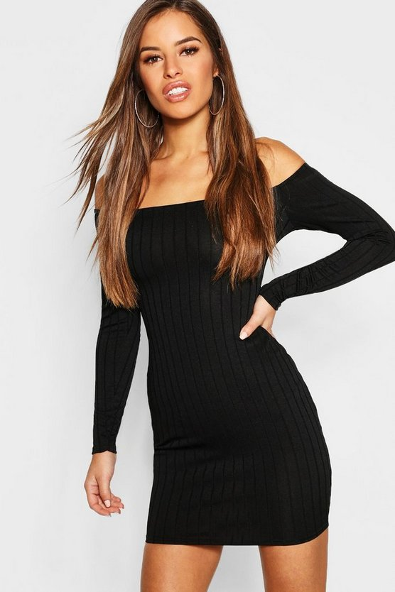 Petite Ribbed Scoop Neckline Bodycon Dress
