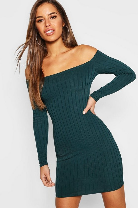 Womens Teal Petite Ribbed Scoop Neckline Bodycon Dress