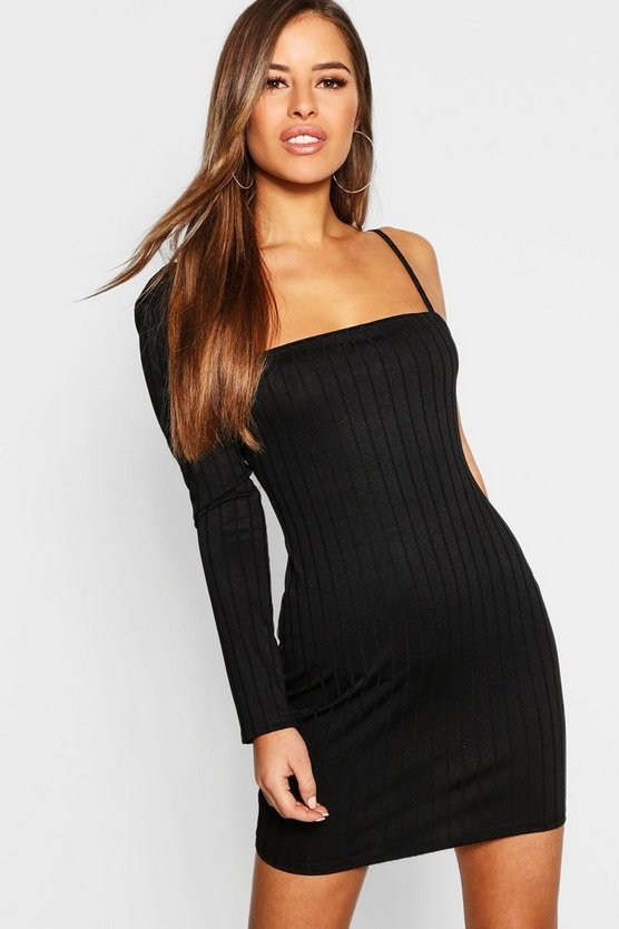 Petite Ribbed One Shoulder Bodycon Dress