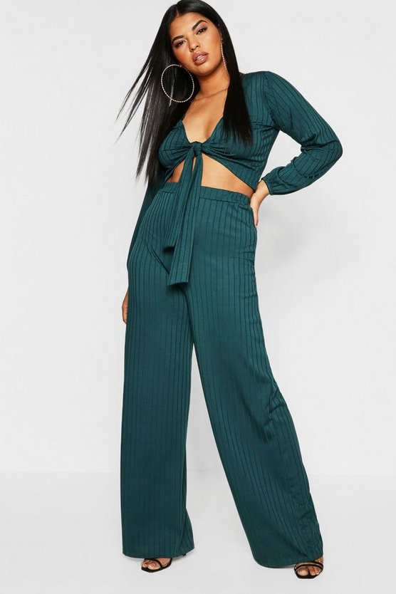 Plus Ribbed Wide Leg Trouser