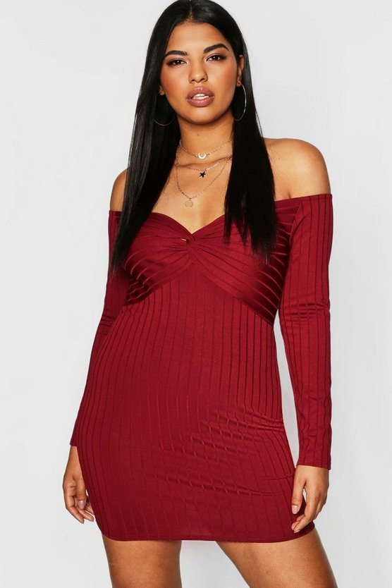 Berry Plus Ribbed Knot Front Bodycon Dress