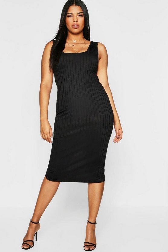 Plus Ribbed Square Neck Midi Dress