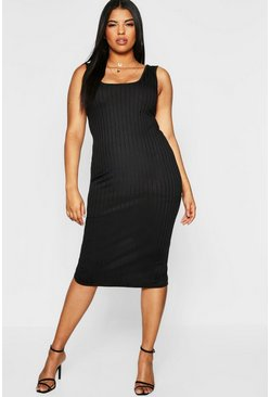 Womens Black Plus Ribbed Square Neck Midi Dress