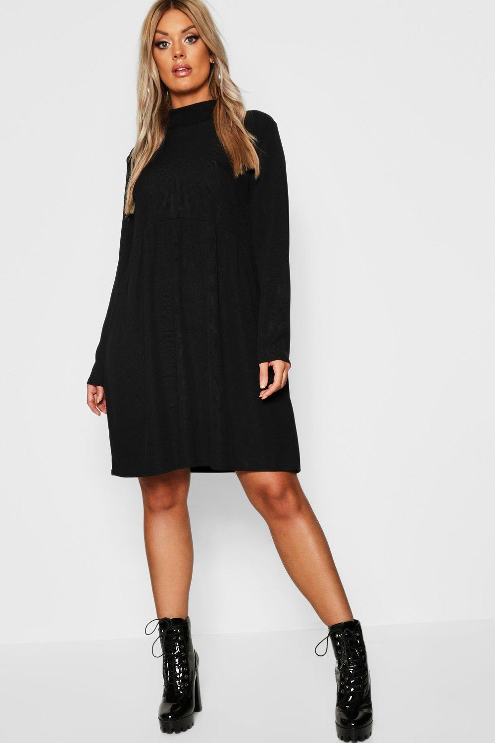 Plus Rib Turtle Neck Smock Dress