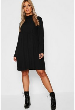 Black Plus Rib Turtle Neck Smock Dress