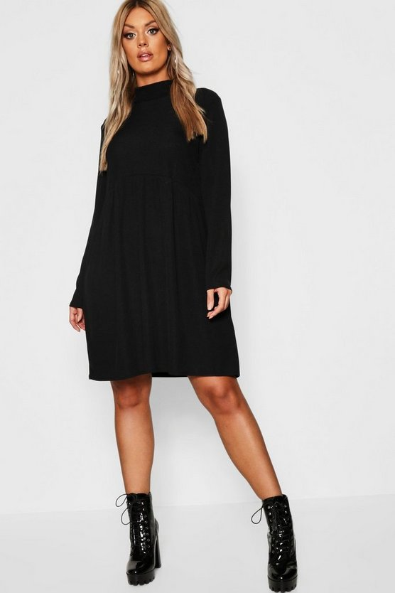 Womens Black Plus Rib Turtle Neck Smock Dress