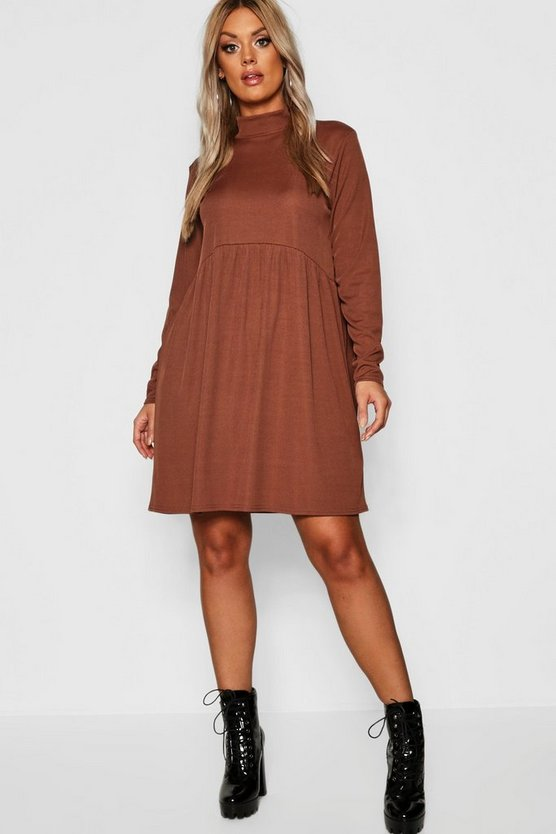 Plus Rib Turtle Neck Smock Dress, Chocolate, Donna