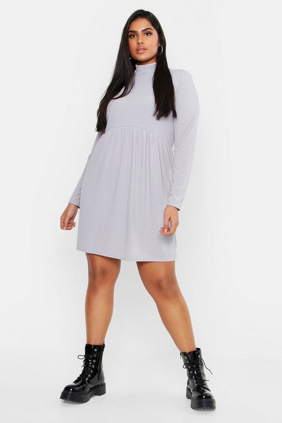 Womens Grey Plus Rib Turtle Neck Smock Dress