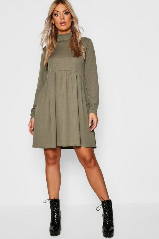 Womens Khaki Plus Rib Turtle Neck Smock Dress
