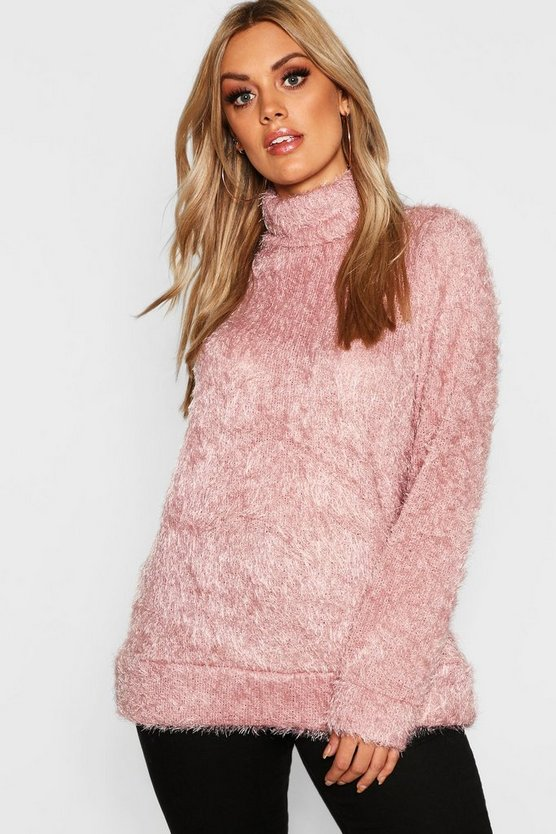 Womens Blush Plus High Neck Fluffy Knit Jumper