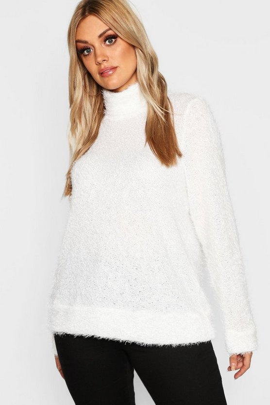 Plus High Neck Fluffy Knit Jumper