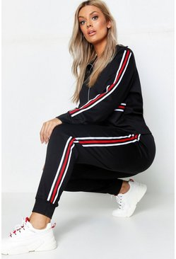 Womens Black Plus Stripe Sweat & Jogger Lounge Set