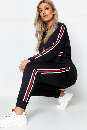 Black Plus Stripe Sweat & Jogger Lounge Set
