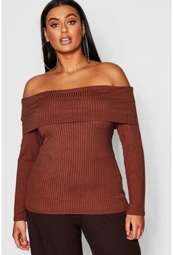 Womens Mocha Plus Jumbo Rib Bardot Top