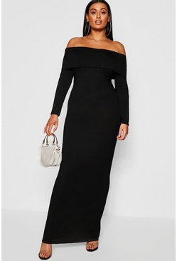 Black Plus Jumbo Rib Bardot Maxi Dress