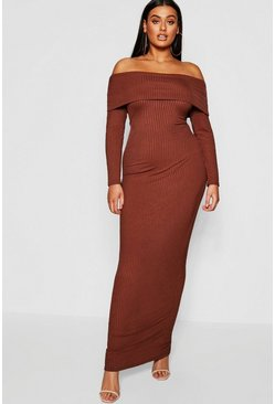 Mocha Plus Jumbo Rib Bardot Maxi Dress