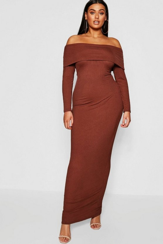 Womens Mocha Plus Jumbo Rib Bardot Maxi Dress