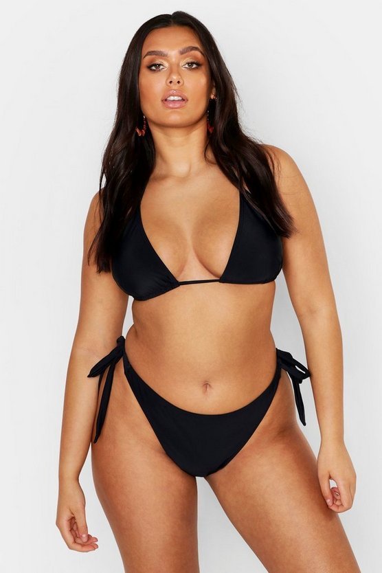 Womens Black Plus Minimal Tan Line Triangle Bikini