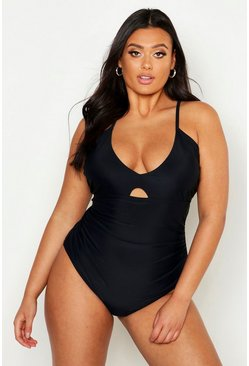 Plus Ruched Control Swimsuit, Black, MUJER