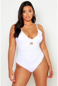 Womens White Plus Ruched Control Swimsuit