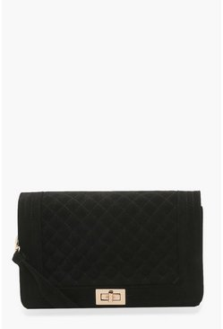 Plus Diamond Quilt Cross Body Bag, Black, MUJER