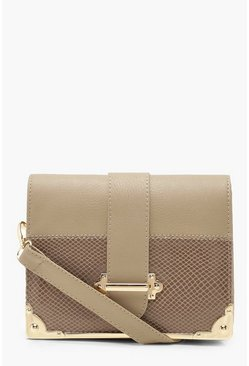 Womens Taupe Plus Croc Embossed Buckle Cross Body Bag