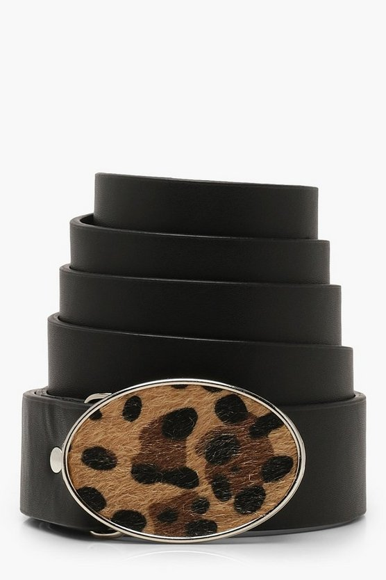 Plus Faux Fur Leopard Buckle Belt
