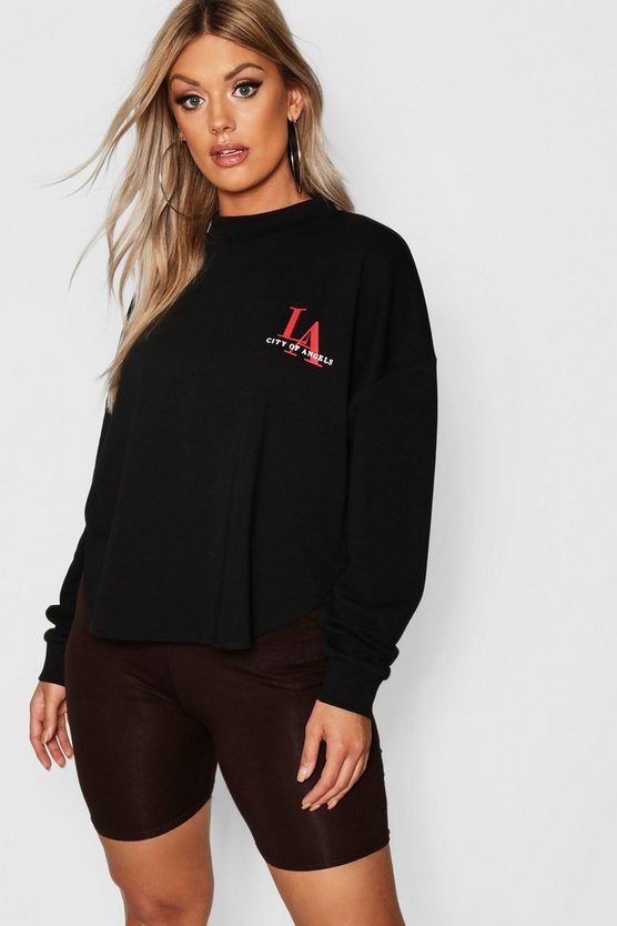 Womens Black Plus Curved Hem LA Slogan Sweat