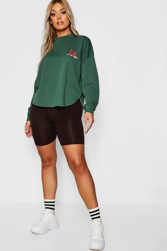 Womens Emerald Plus Curved Hem LA Slogan Sweat