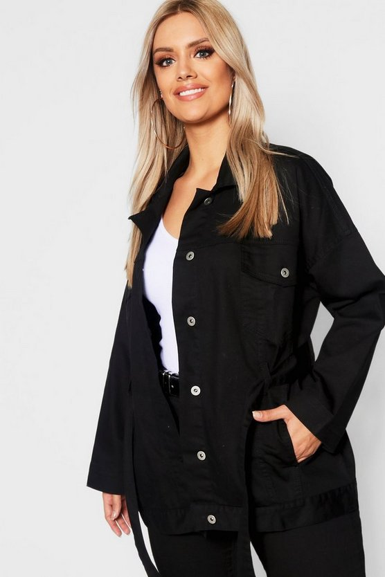Plus Belted Oversized Longline Denim Jacket