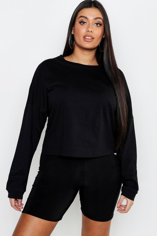 Plus Cotton Long Sleeve Basic Top