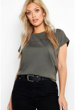 Womens Khaki Plus Cap Sleeve Cotton Printed T-Shirt