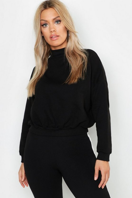 Womens Black Plus High Neck Brushed Back Sweater